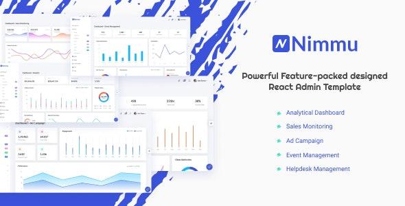 Nimmu - React + HTML + Dark Admin Template - Admin Templates Site Templates