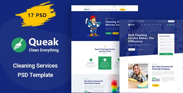 Queak - Cleaning Service PSD Template - Business Corporate