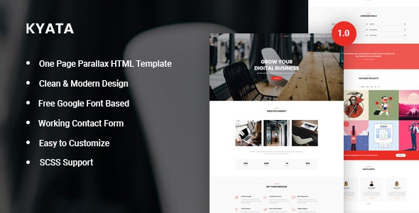 Kyata | One Page Parallax HTML5 Template - Creative Landing Pages