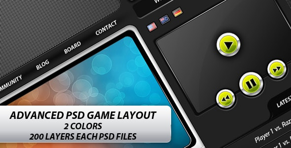 Advanced Game PSD Layout - Clan website - Entertainment Photoshop