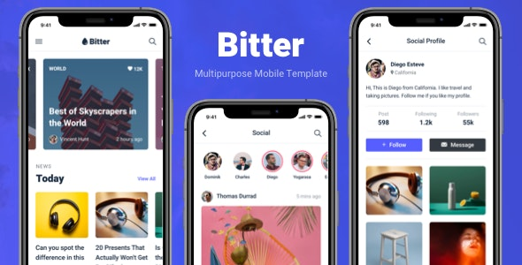 Bitter - Multipurpose Mobile Application Template - Mobile Site Templates