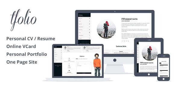Tfolio - Personal Portfolio & CV / Resume Site Template - Portfolio Creative