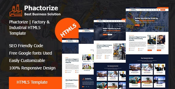 Phactorize - Factory & Industrial HTML5 Template - Corporate Site Templates