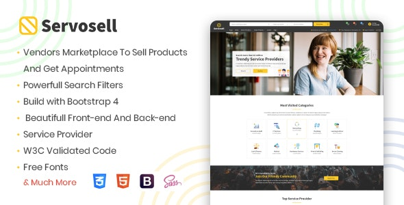 Servosell - Service Providers and Vendors Directory Template - Corporate Site Templates