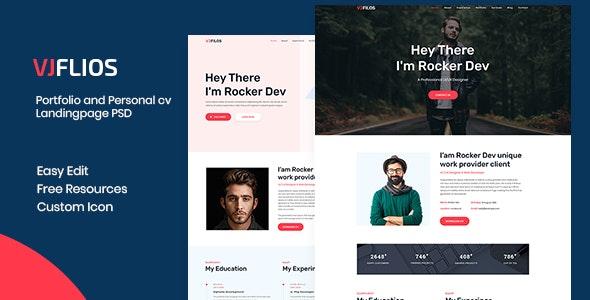 Vjflios – Portfolios and Personal CV Landingpage PSD - Portfolio Creative
