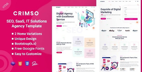 Crimso - SEO & IT Agency HTML Template - Technology Site Templates