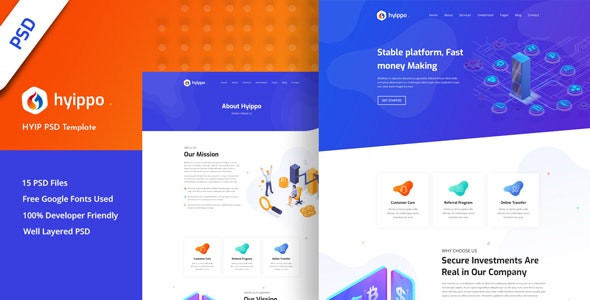 Hyippo - Isometric HYIP Investment Business PSD Template - Business Corporate