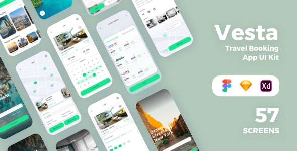 Vesta - Travel Booking App UI Kit - Sketch Templates
