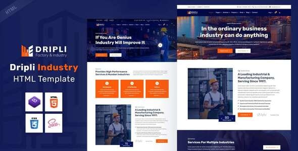 Dripli - Factory & Industry HTML Template - Corporate Site Templates