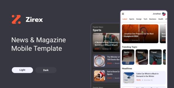 Zirex - News & Magazine Mobile Template - Mobile Site Templates