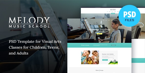 Melody | Music School PSD Template - Children Retail