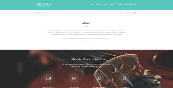 Melody   Music School PSD Template