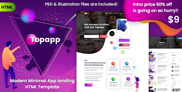Topapp - App Landing Page by themexriver