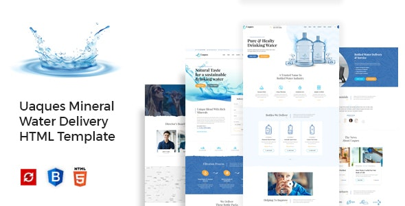 Uaques - Drinking Mineral Water Delivery HTML Template - Food Retail