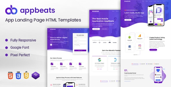 AppBeats - App Landing Page - Technology Landing Pages