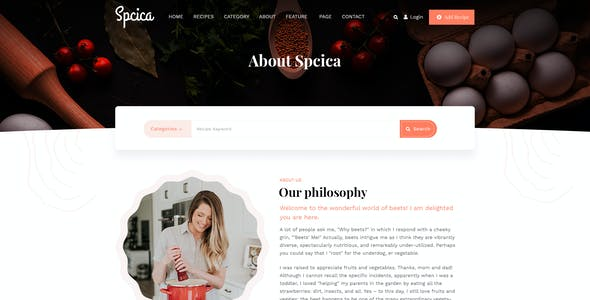 Spcica - Recipes & Food PSD Template