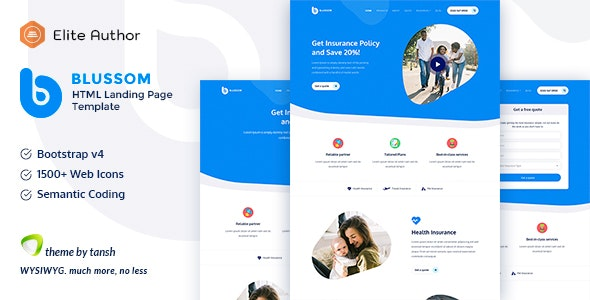 Blussom Insurance Service Landing Page Template - Marketing Corporate