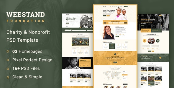 Weestand - Charity PSD Template - Charity Nonprofit