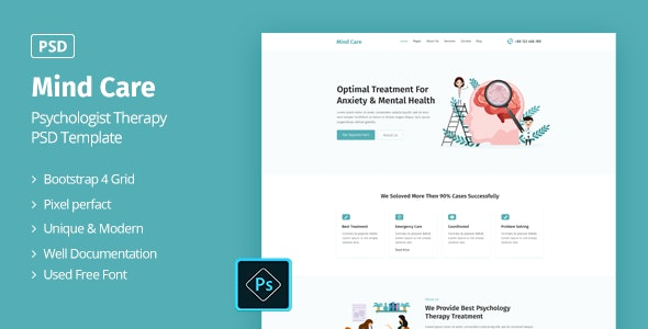 Mind Care - Psychologist Therapy PSD Template - Health & Beauty Retail