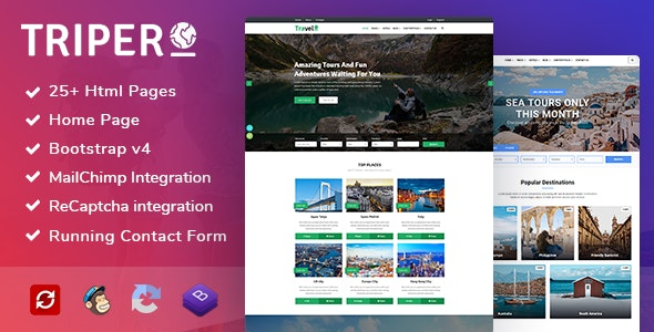 Triper: Creative Tour & Travel, Hotel Booking Agency HTML Template - Travel Retail