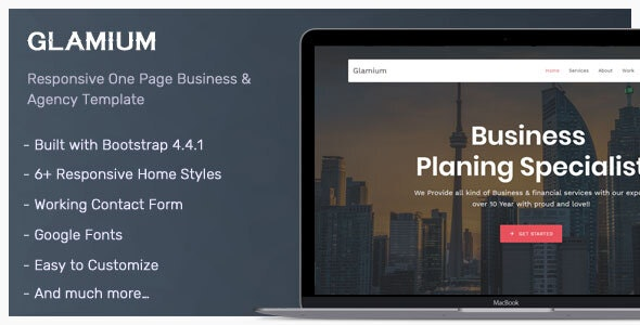 Glamium - One Page Multipurpose HTML5 Template - Corporate Site Templates