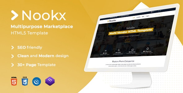 Nookx - Multipurpose Ecommerce & Digital Marketplace Bootstrap Responsive Template - Retail Site Templates