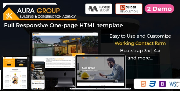 Aura - Construction Responsive HTML Template - Business Corporate