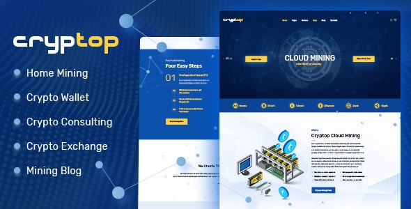 CrypTop - ICO Landing and CryptoCurrency WordPress Theme - Technology WordPress