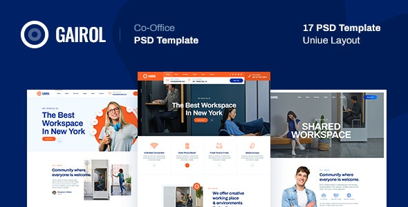Gairol - Coworking and Creative Space PSD Template - Business Corporate