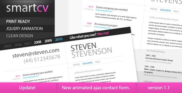 Smart CV - Resume Theme - Resume / CV Specialty Pages