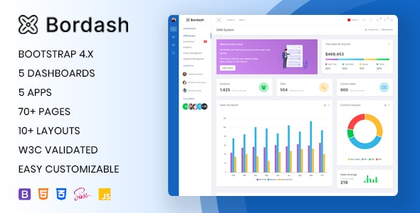 Bordash - Responsive Admin Dashboard Template - Admin Templates Site Templates
