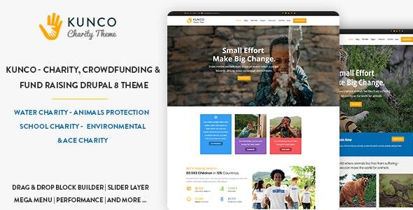 Kunco - Charity, Crowdfunding & Fund Raising Drupal 8.8 Theme - Nonprofit Drupal