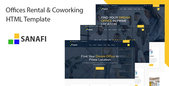 Sanafi - Coworking Space & Office Rental HTML Template - Corporate Site Templates