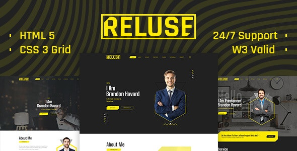 Reluse - Personal Portfolio - Personal Site Templates