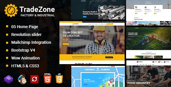 TradeZone - Factory & Industrial One Page HTML Template - Corporate Site Templates