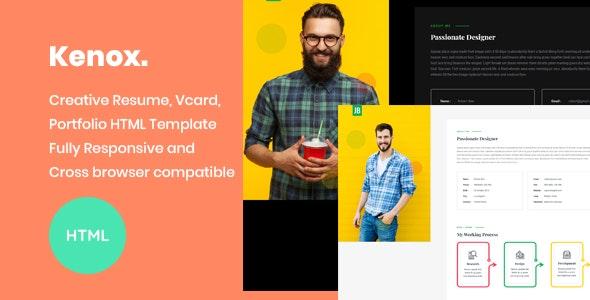 Kenox - Creative Resume / vCard / Portfolio HTML Template - Resume / CV Specialty Pages