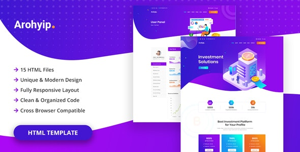 Arohyip - HYIP Investment Business HTML Template - Business Corporate