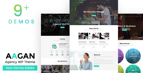 Aagan - Agency, Startup WordPress Theme by designthemes