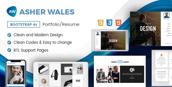 AW | Personal / Portfolio / Resume One Page HTML5 Template - Virtual Business Card Personal