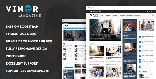 Vinor - Responsive Magazine News Drupal 8.8 Theme - News / Editorial Blog / Magazine