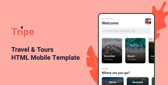 Tripe - Travel & Tour Mobile Template