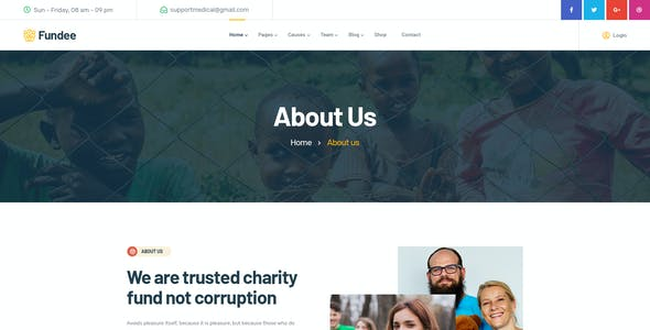 Fundee - NonProfit Charity PSD Template
