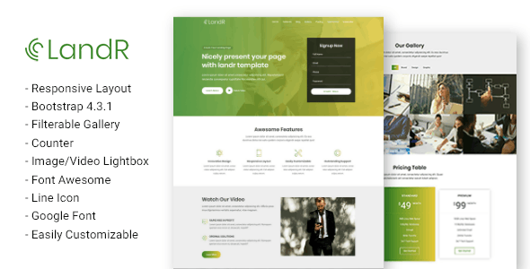 landR - Responsive Multi-purpose Landing Page Template - Business Corporate