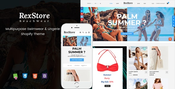 RexStore - Multipurpose Swimwear & Lingerie Shopify Theme - Shopify eCommerce