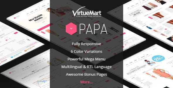 Papa - Responsive Multipurpose VirtueMart Template - VirtueMart Joomla