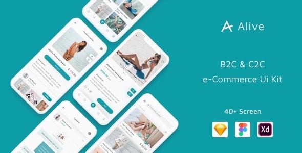Alive - B2C and C2C eCommerce App Ui Kit - Sketch UI Templates