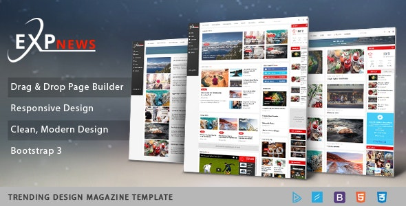ExpNews - Clean Drag & Drop News Portal Joomla Template - News / Editorial Blog / Magazine