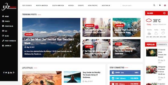 ExpNews - Clean Drag & Drop News Portal Joomla Template
