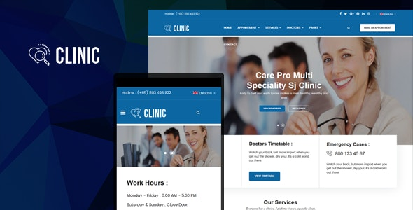 Clinic - Modern Medical & Healthcare Joomla Responsive Template - Joomla CMS Themes