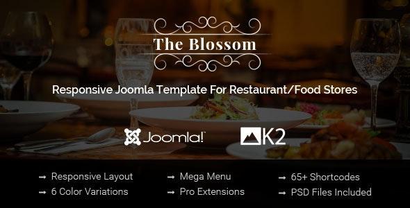 Blossom - Responsive Joomla Template For Restaurant/Food stores - Restaurants & Cafes Entertainment